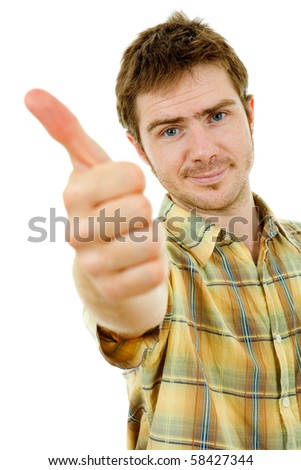 young casual man going thumb up in a white background - stock photo