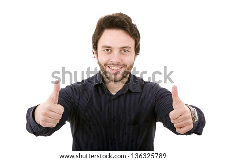 Young casual man going thumb up on a white background - stock photo