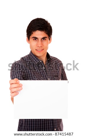 Young casual man holding white sign to write it on your text isolated on white background - stock photo