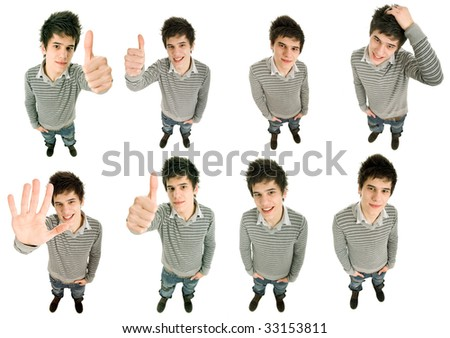 young casual man in different positions, isolated on white
