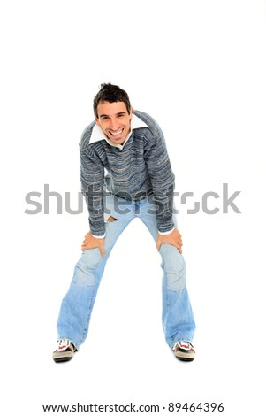 young casual man isolated on white background - stock photo