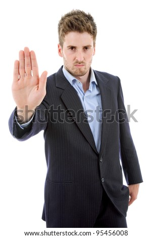 young casual man making stop with his hand, in a white background