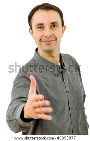young casual man offering to shake the hand - stock photo