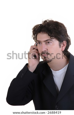 young casual man on the cell phone