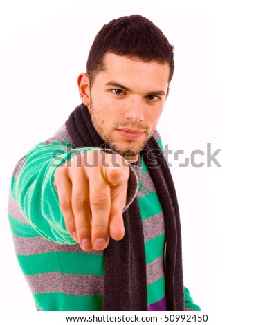 young casual man pointing with his finger, isolated on white