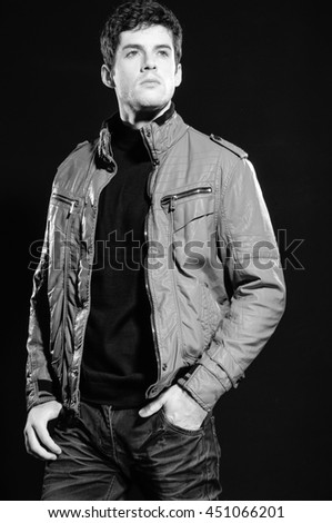 young casual man portrait black and white - stock photo