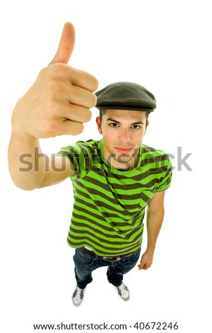 young casual man portrait going thumb up - stock photo