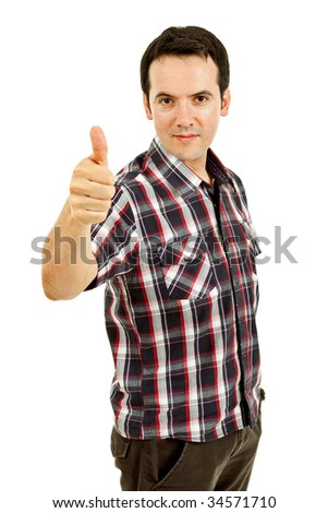 young casual man portrait going thumb up in a white background