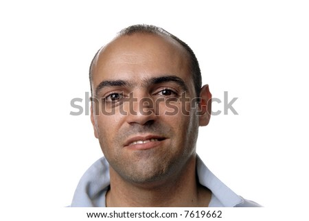 young casual man portrait in white background