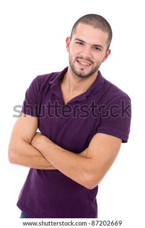 young casual man portrait, isolated on white - stock photo