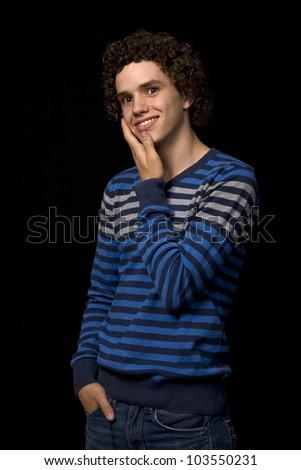 young casual man portrait, studio picture - stock photo