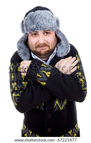 young casual man portrait with a russian hat - stock photo