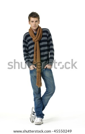 Young Casual man posing, isolated in white background - stock photo