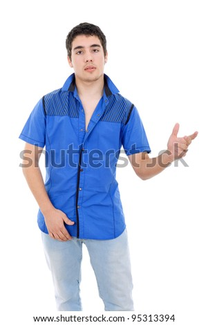 young casual man posing, isolated on white background - stock photo