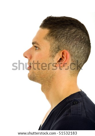 young casual man profile, isolated on white background - stock photo