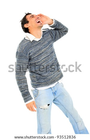 young casual man shouting  isolated on white background - stock photo