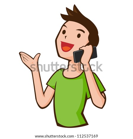 young casual man talking on the phone isolated on white background - stock photo