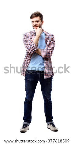 young casual man thinking, isolated on white - stock photo