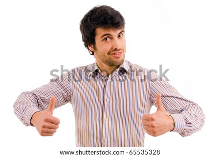 Young casual man tumbs up on white background