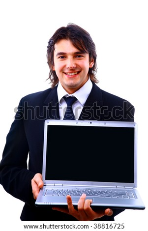 young casual man using laptop