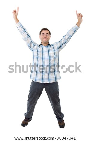 young casual man winning, isolated on white - stock photo