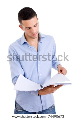 young casual man with a book in a white background