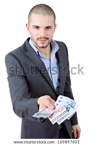 young casual man with lots of money - stock photo