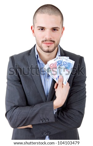 young casual man with lots of money, isolated - stock photo