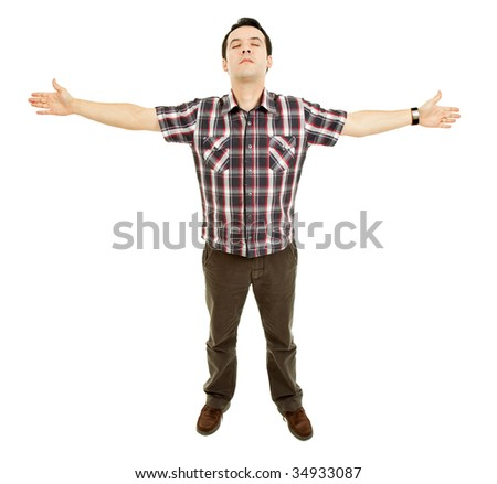 young casual man with open arms, isolated - stock photo