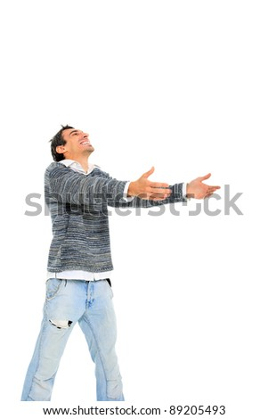 young casual man with open arms isolated on white background