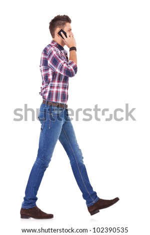 young casual manwelcoming you on white background