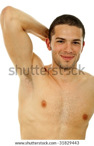 young casual naked man isolated on white