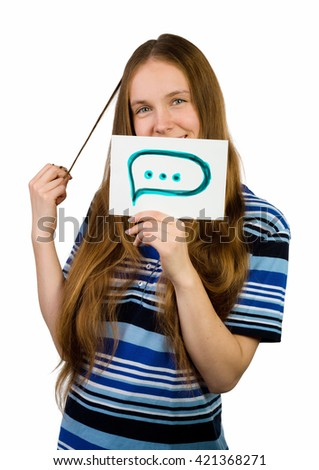 Young casual professional businesswoman showing white sign with message sign. Portrait of young professional caucasian female model isolated on white background. - stock photo