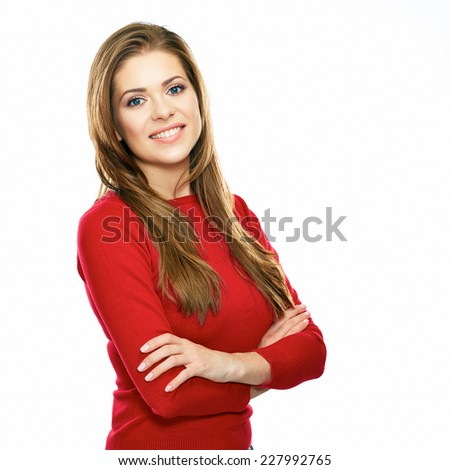 young casual style dressed in red woman posing against white background. studio isolated. long hair. - stock photo