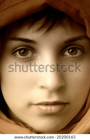 young casual woman close up portrait, studio picture - stock photo