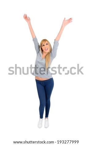 young casual woman on white - stock photo