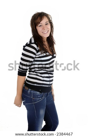 young casual woman portrait in white background
