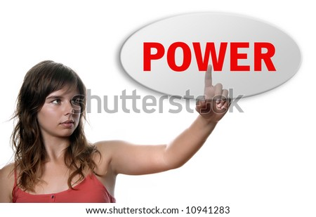 young casual woman presses key, on white