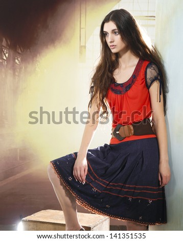 Young casual woman style isolated light background. studio portrait,
