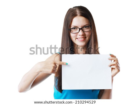 Young casual woman style isolated over white background hold sign card.  - stock photo