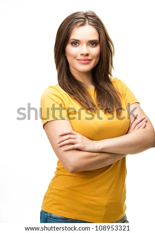 Young casual woman style isolated over white background. studio portrait