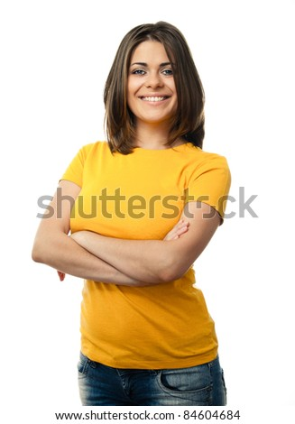 Young casual woman style isolated over white background. studio portrait, - stock photo