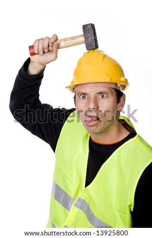 young casual worker portrait with a hammer