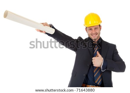 Young caucasian architect with helmet, pointing with plans. Man with thumb up. Studio shot. White background. - stock photo