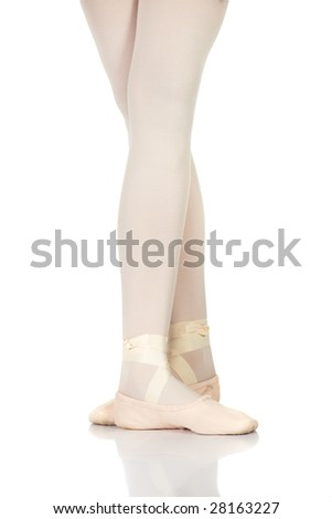 Young caucasian ballerina girl on white background and reflective white floor showing various ballet steps and positions. Fifth Position. Not Isolated.
