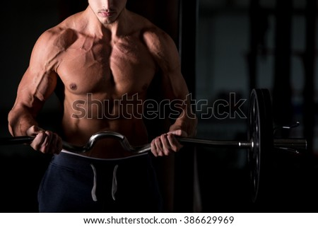 Young caucasian bodybuilder sportsman lifting a barbell in fitness center, doing biceps training, close up - stock photo