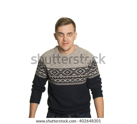 Young caucasian boy with sweatshirt with a surprised gesture - stock photo