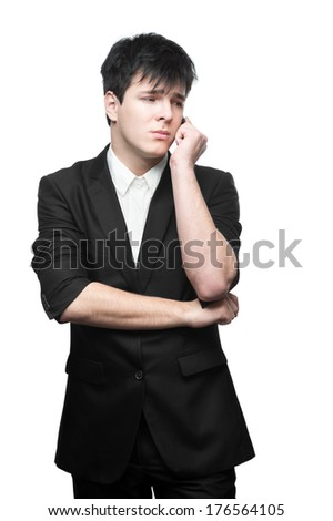young caucasian brunette businessman isolated on white background talking on cell phone - stock photo