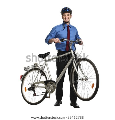 young caucasian buainessman with his bicycle on white background - stock photo