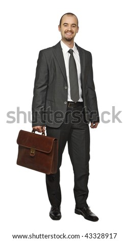 young caucasian business man standing isolated on white background - stock photo